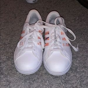 White and Multicolored Adidas Sneakers
